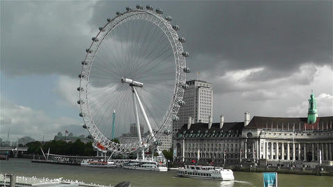 London Eye River Thames London 2 handheld Stock Video Footage