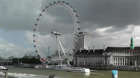 London Eye River Thames London 2 handheld Stock Video Footage