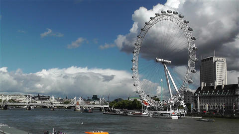 London Eye River Thames London 4 handheld Stock Video Footage