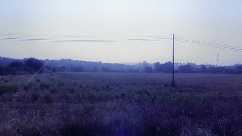 Mediterranean Field with Electric Pole 3 stylized Footage