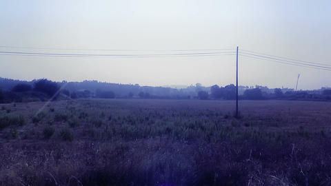 Mediterranean Field with Electric Pole 3 stylized Stock Video Footage