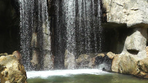 Mediterranean Palm Tree Garden 20 small waterfall Stock Video Footage