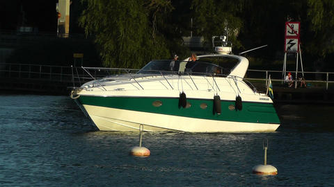 Small Yacht in Stockholm 1 Stock Video Footage
