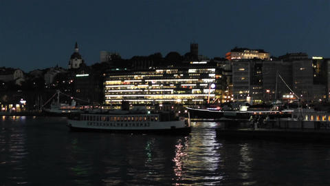 Stockholm at Night 1 Stock Video Footage