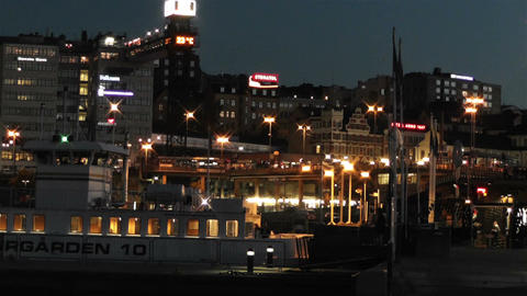 Stockholm at Night 5 Stock Video Footage