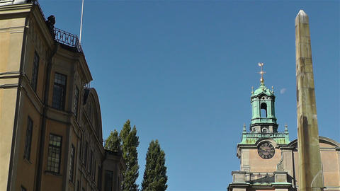 Stockholm Cathedral 2 obelisk Stock Video Footage