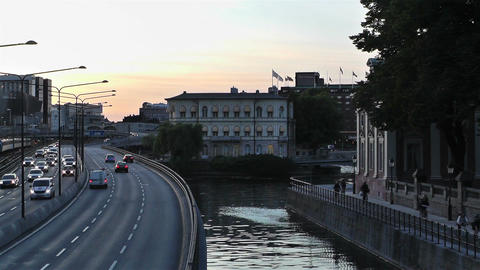 Stockholm Downtown 14 traffic sunset Stock Video Footage