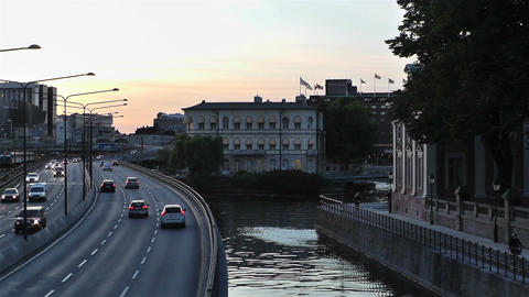 Stockholm Downtown 14 traffic sunset Footage