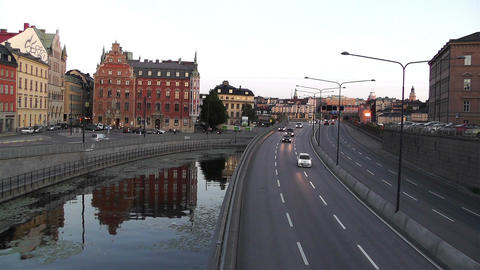 Stockholm Downtown 15 traffic sunset Footage