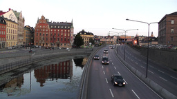 Stockholm Downtown 15 traffic sunset Stock Video Footage