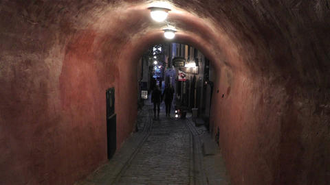 Stockholm Gamla Stan 28 evening small alley Stock Video Footage
