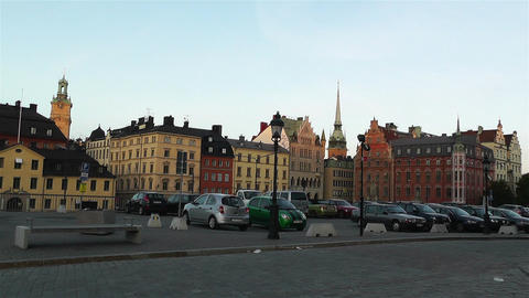 Stockholm Riddarholmen 14 sunset Stock Video Footage