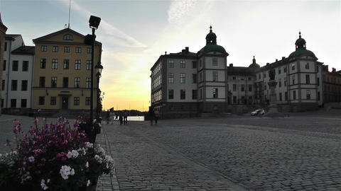 Stockholm Riddarholmen 16 sunset Stock Video Footage