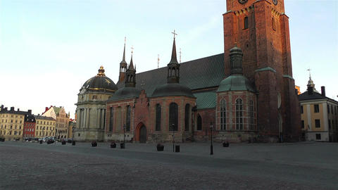 Stockholm Riddarholms Church 2 sunset tilt Stock Video Footage