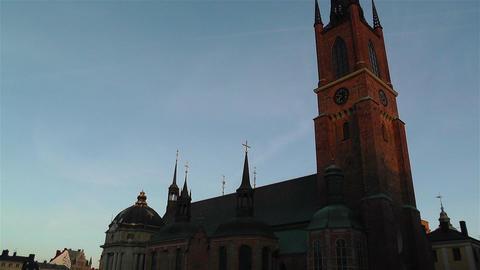 Stockholm Riddarholms Church 2 sunset tilt Footage