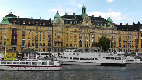Stockholm Strandvagen 6 harbour Stock Video Footage