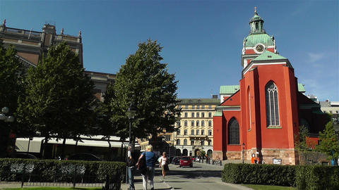 Stockholm Sweden Jacobs Church 3 Stock Video Footage