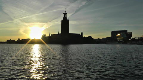 Stockholm Town Hall 3 sunset 1 Footage