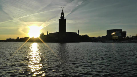 Stockholm Town Hall 3 sunset 1 Stock Video Footage