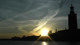 Stockholm Town Hall 4 sunset Stock Video Footage