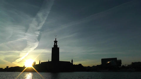 Stockholm Town Hall 6 sunset Stock Video Footage