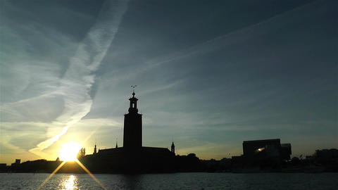 Stockholm Town Hall 6 sunset Footage
