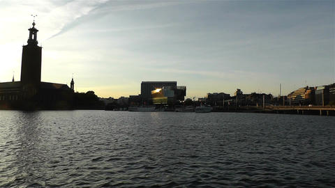 Stockholm Town Hall and Central Station 2 sunset Stock Video Footage