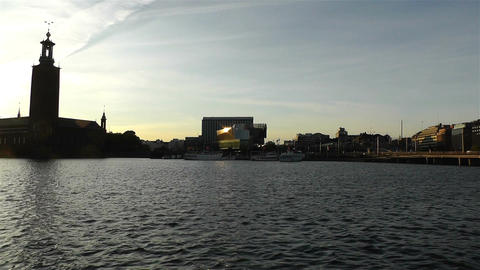 Stockholm Town Hall and Central Station 2 sunset Footage