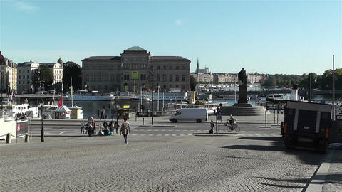 Stockholm view from Gamla Stan 4 national museum Footage