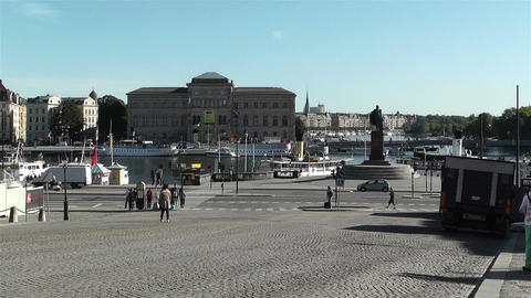 Stockholm view from Gamla Stan 4 national museum Stock Video Footage