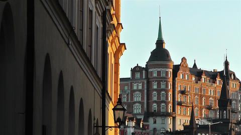 Stockholm view from Gamla Stan 11 Stock Video Footage