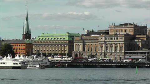 Stockholm view from Skeppsholmem 5 opera Stock Video Footage