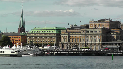Stockholm view from Skeppsholmem 5 opera Stock Video Footage