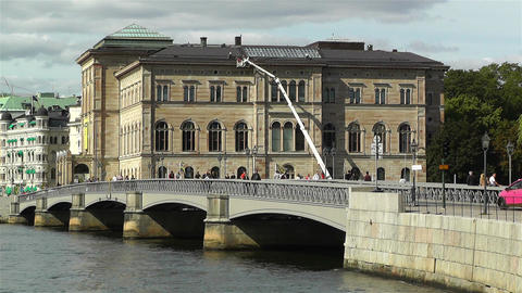 Stockholm view from Skeppsholmem 7 national museum Stock Video Footage