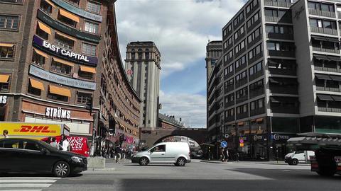 Sveavagen Hotorget Stockholm 1 traffic Stock Video Footage
