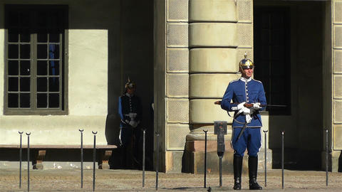 Swedish Royal Palace Stockholm 15 guard Stock Video Footage