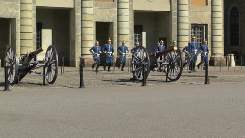 Swedish Royal Palace Stockholm 17 guard change Stock Video Footage
