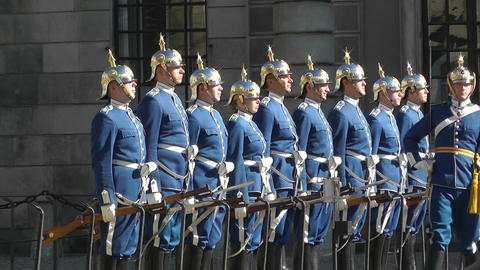 Swedish Royal Palace Stockholm 19 guard change Stock Video Footage
