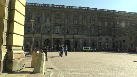 Swedish Royal Palace Stockholm 21 guard change Stock Video Footage