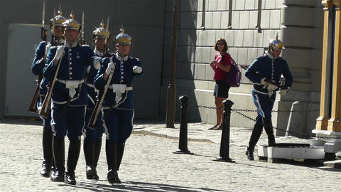Swedish Royal Palace Stockholm 23 guards Stock Video Footage