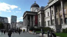 Trafalgar Square London 2 handheld Stock Video Footage