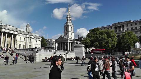 Trafalgar Square London 19 handheld Stock Video Footage