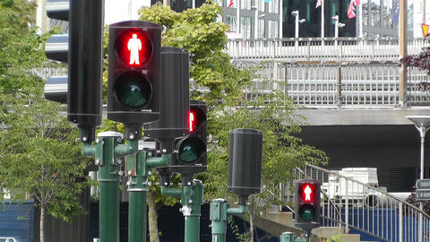 Traffic Lights Turn to Red 1 Footage