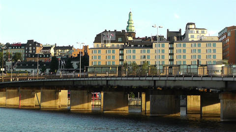 Stockholm view from Gamla Stan 8 Stock Video Footage