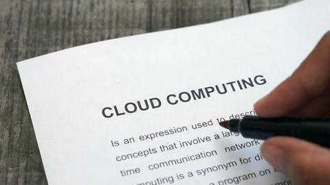 Circling Cloud computing with a red marker Stock Video Footage