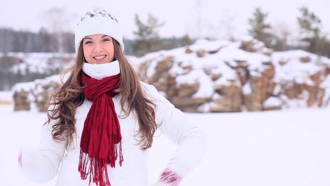 Winter Girl. Panorama Stock Video Footage
