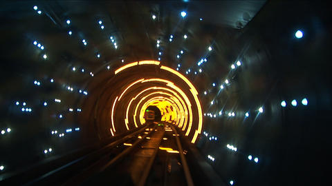 Bund sightseeing tunnel, slow shutter speed Stock Video Footage