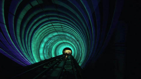 Bund sightseeing tunnel, slow shutter speed Stock Video Footage