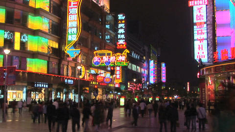 Nanjing Road at Night in Shanghai, China - time lapse Stock Video Footage