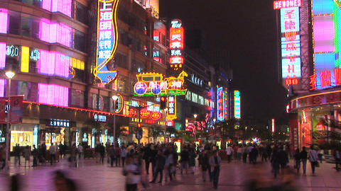 Nanjing Road at Night in Shanghai, China - time lapse Footage